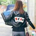 WFST Кожаная Куртка Женщин Новый 2016 Тонкий Мягкий PU Кожаные Куртки Покер Пальто Jaqueta Де Couro Черный Мотоцикл Куртки MF53050