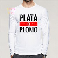 FASHION PRINT UOMO NARCOS SERIE TV PLOMO O PLATA PABLO ESCOBAR T SHIRT LONG SLEEVE MEN
