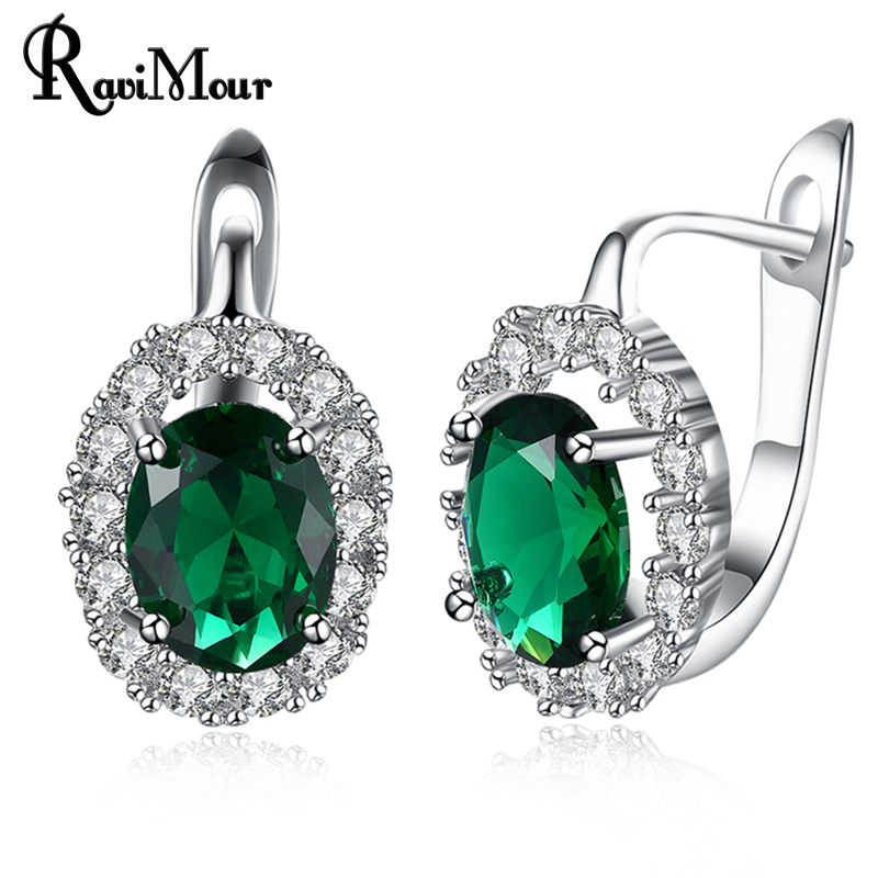 RAVIMOUR Green White Crystal Zircon Stud Earrings for Women Fashion Silver Color Oval Cuff Earing Wedding Jewelry