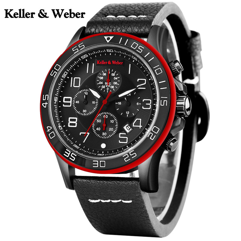 Keller & Weber Luxury Brand Quartz KW Watch Men Business Analog Date Chronograph Wristwatches Aviator Military Sport Army Clock keller