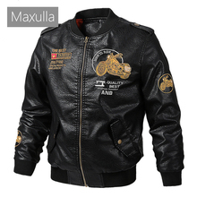 Maxulla Winter Mens Leather Jacket Casual Men Faux Leather Coats Male Embroidere