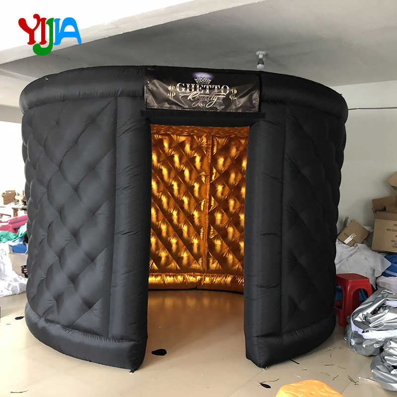 Pola Berlian Oval Inflatable Photo Booth Lampiran dengan Batin Air Blower dan LED Inflatable Photo Booth Tenda untuk Acara Pesta