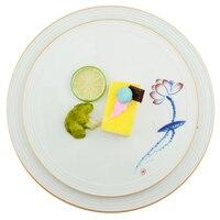Stile cinese Cena Piatti Reticolo di Fiore di Ceramica Piatto di Forma Rotonda Porcellana Contenitore Per Alimenti Vassoio Per La Carne Verdura Posate