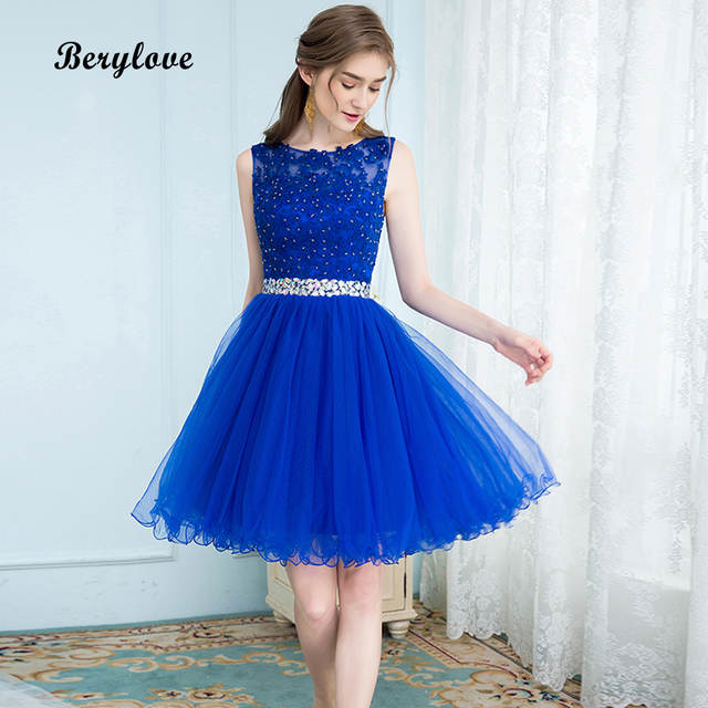 Berylove Short Blue Tulle Homecoming Dresses 2018 Mini Beaded Lace