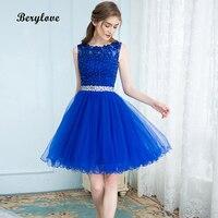 Short Blue Tulle Homecoming Dresses 2019 Keyhole Mini Beaded Lace Homecoming Gowns Plus Size Short Prom Dress Graduation Dresses