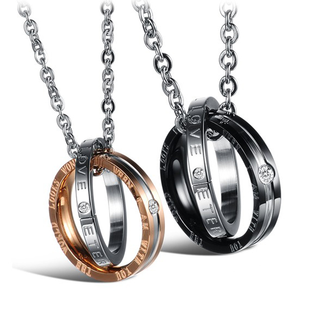 ETERNAL LOVEStainless Steel Black Or Rose Gold Inlaid Shining Crystal Drill Lovers Pendant Necklece,One Ball Chain For Free