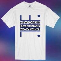 Nuevo orden movimiento banda álbum cover logo hombres camiseta blanca tamaño S-3XL