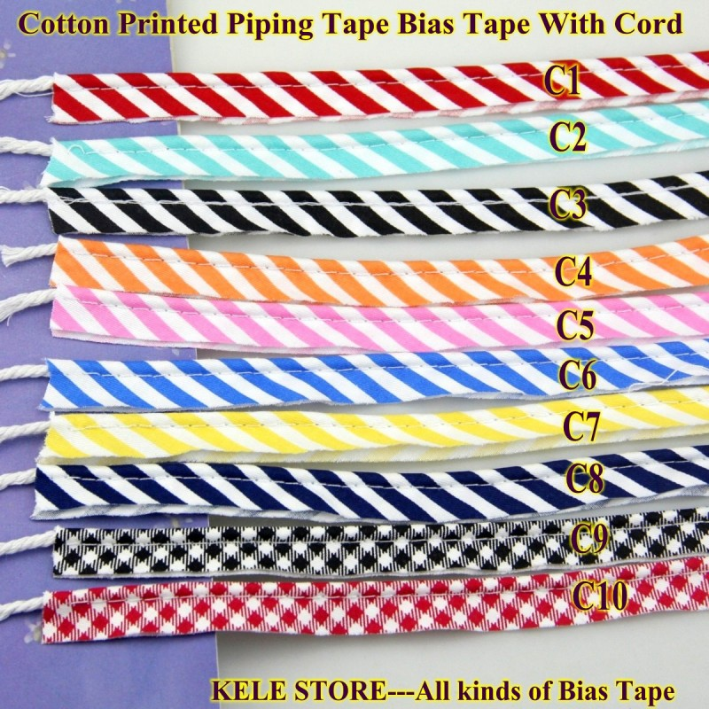 Image 2 - Free shipping  100% Cotton Bias Piping, Piping tape,bias Tape with cord,size:12mm,50yds,for DIY sewing textile solid col Blackbias pipingpiping tapebias tape with cord -