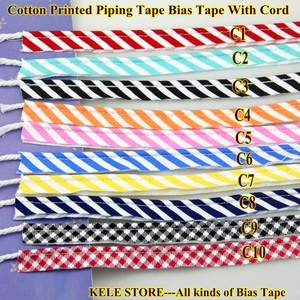 Image 2 - Free shipping  100% Cotton Bias Piping, Piping tape,bias Tape with cord,size:12mm,50yds,for DIY sewing textile solid col Black