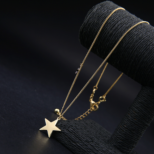 Three Layers Moon and Stars Choker Necklace in Antique Gold Color 6