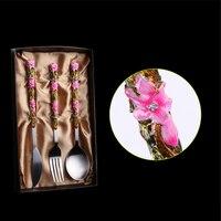 European Enameled Flatware Set Flowering Pattern Steak Knife Cafe Shops Dessert Forks Restaurant Soup Spoon Christmas Gift 1set