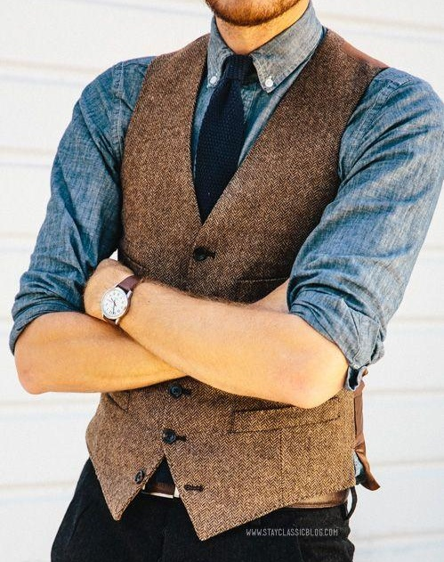 Brown Wool Herringbone Tweed Vests Slim Mens Suit Vests Custom Made Sleeveless Suit Jacket Mens Dress Wedding Waistcoat