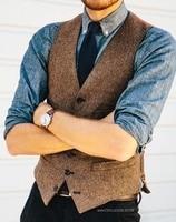 Brown Wool Herringbone Tweed Vests Slim Mens Suit Vests Custom Made Sleeveless Suit Jacket Mens Dress Wedding Waistcoat