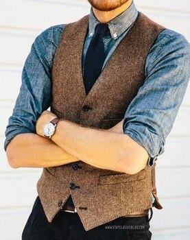 4b8b79e33 Chaleco de Tweed de espiga de lana marrón ajustado para hombre, chalecos,  hecho a