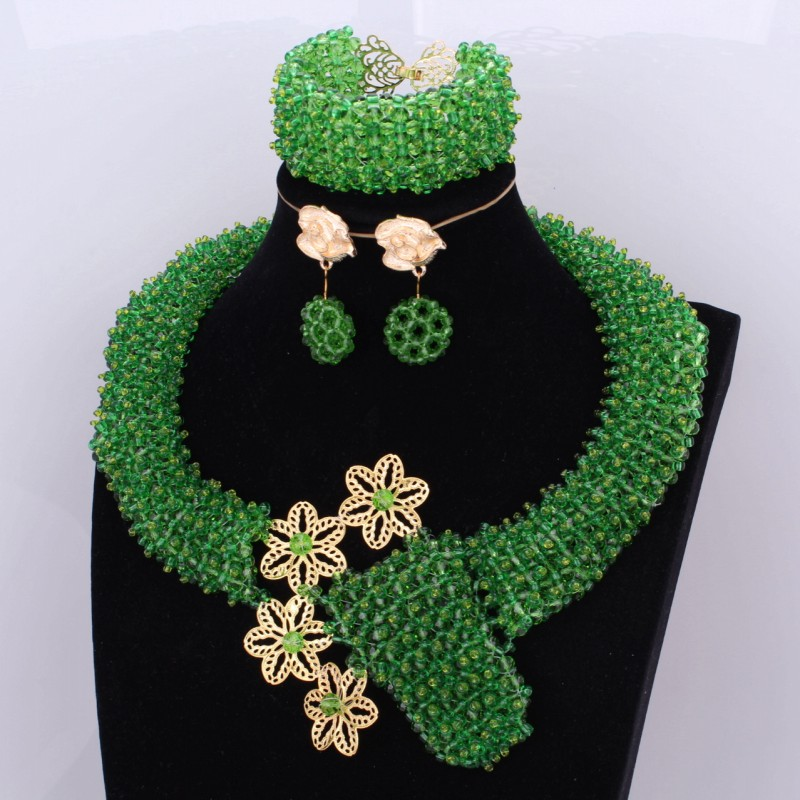 Luxury Necklace Set African Beads Jewelry Green and Gold Big Nigerian Wedding Necklace Fine Jewelry Set For Women Free Ship 2018