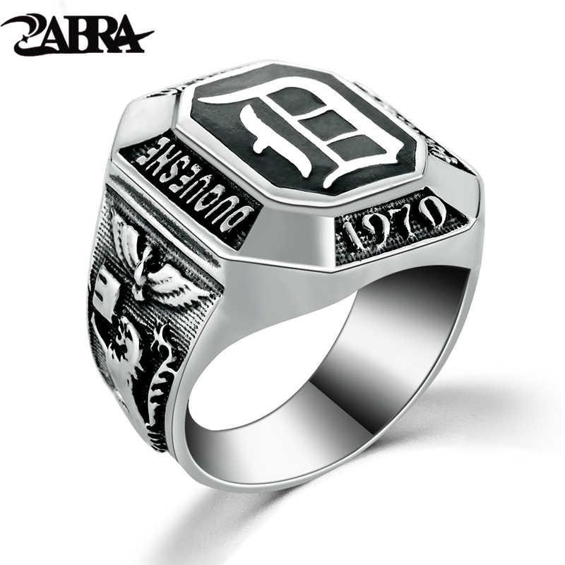 ZABRA Настоящее серебро 925 мужчин s Signet кольцо вампирские дневники кольца для мужчин черный панк рок классический подарок классные фильмы