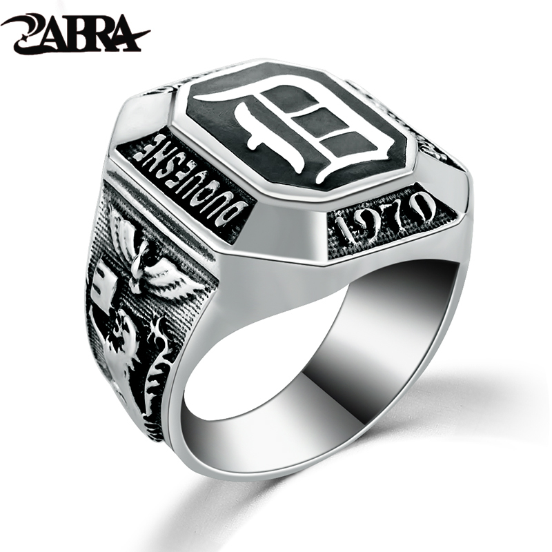 ZABRA Real Silver 925 Mens Signet Ring The Vampire Diaries Rings For Men Black Punk Rock