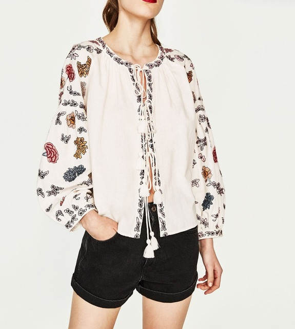 WISHBOP NEW 2017 FASHION WOMAN Ethnic Floral EMBROIDERED SHIRT Long puff  sleeves Round Neck Front tied Tassels Belt fastening 1a51da273c84