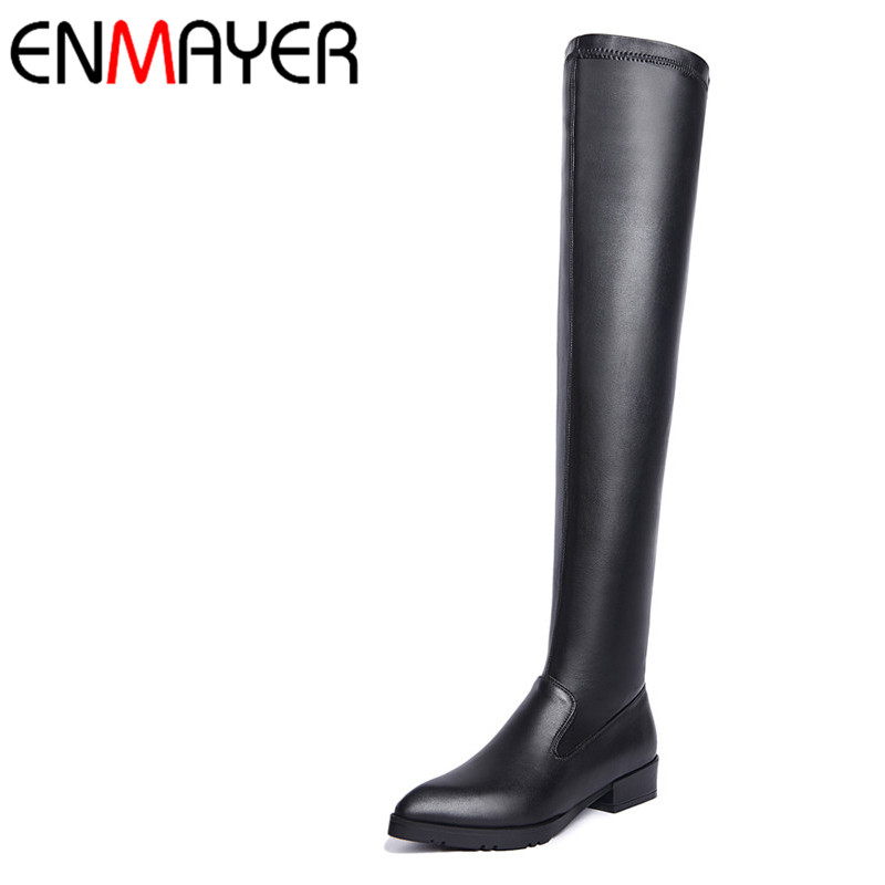 ФОТО ENMAYER Med Heels Fashion Boots Shoes PU Black Over the Knee Boots Zip Long Autumn/Winter Boots Women Fashion Leisure Point Toe