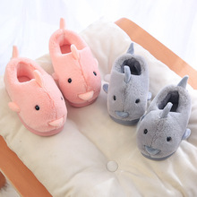 Winter Kids Baby Shoes Children Cotton Slippers Home Indoor Non-Slip Shoes Girls Boys Cute Dolphin Warm Soft Slipper Shoes цена 2017