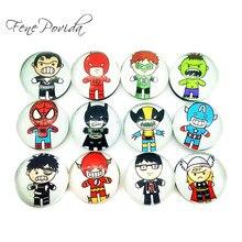 1pcs 25mm Cute Cartoon Super Hero Fridge Magnets Creative Crystal Glass The Avengers Magnetic Sticke
