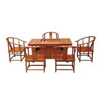Китайский старинный деревянный чайный стол и стулья из массива дерева мебель Ежик палисандр с столом и 5 стульями