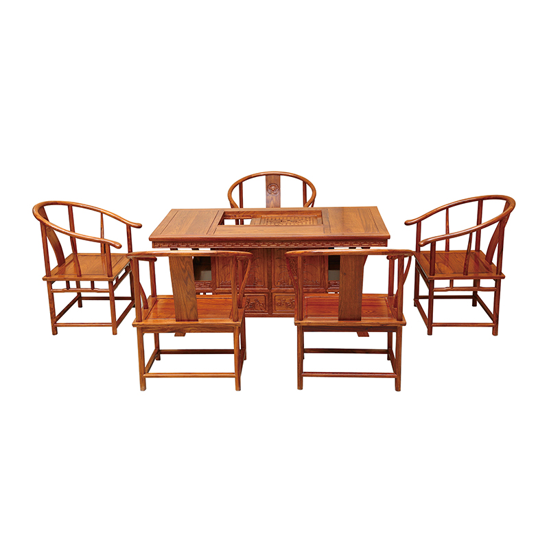 Antique Wooden Chairs >> Us 3000 0 Chinese Vintage Antique Wooden Tea Table And Chairs Solid Wood Furniture Hedgehog Rosewood With A Desk And 5 Chairs In Coffee Tables From