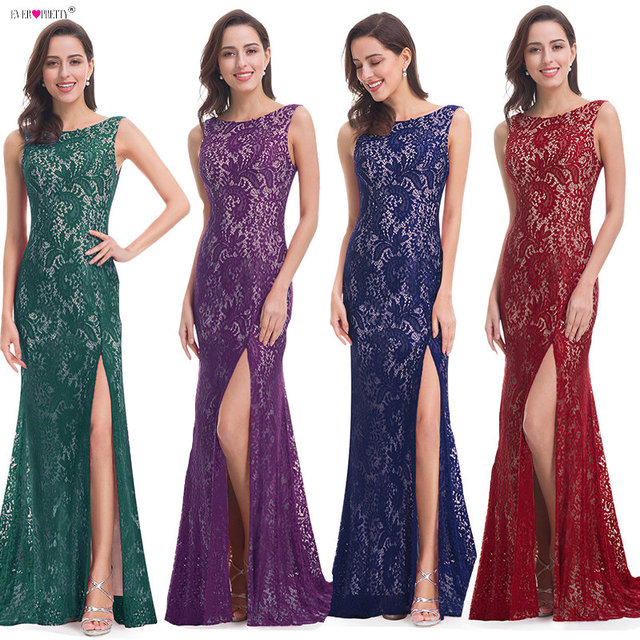 Mermaid Evening Dress Ever Pretty EP08859 Long Sexy Sleeveless Split Formal Celebrity Lace Evening Gown Dresses robe longue