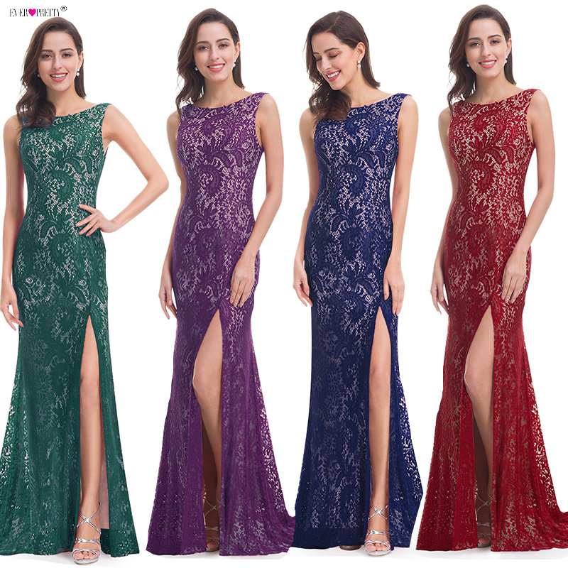 Mermaid   Evening     Dress   Ever Pretty EP08859 2018 Long Sexy Sleeveless Split Formal Celebrity Lace   Evening   Gown   Dresses   robe longue
