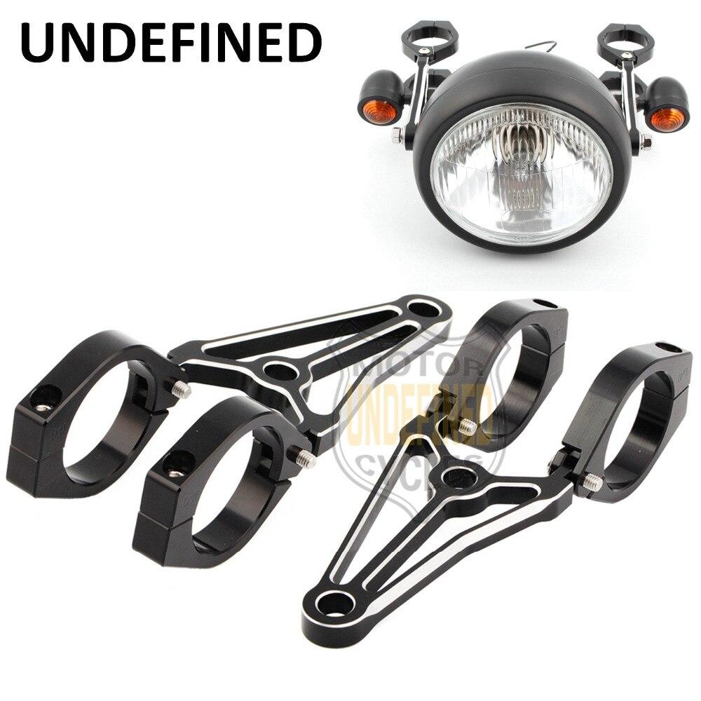 Head Light Bracket Clamp Motorcycle Aluminum 39mm 41mm Fork Tube Spotlight Holder Headlights Mount Kit For Harley Cafe Racer