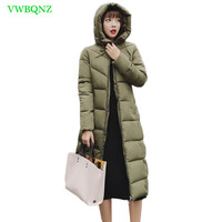 New Fashion Autumn Winter Jacket Warm Down cotton jacket Coat Long Hooded Pockets Coat Female Loose Plus size Outerwear 6XL A959