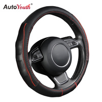 AUTOYOUTH Breathable Black Genuine Cowhide Car Steering Wheel Cover Splice Red Durable Sewing Thread Fits 38cm