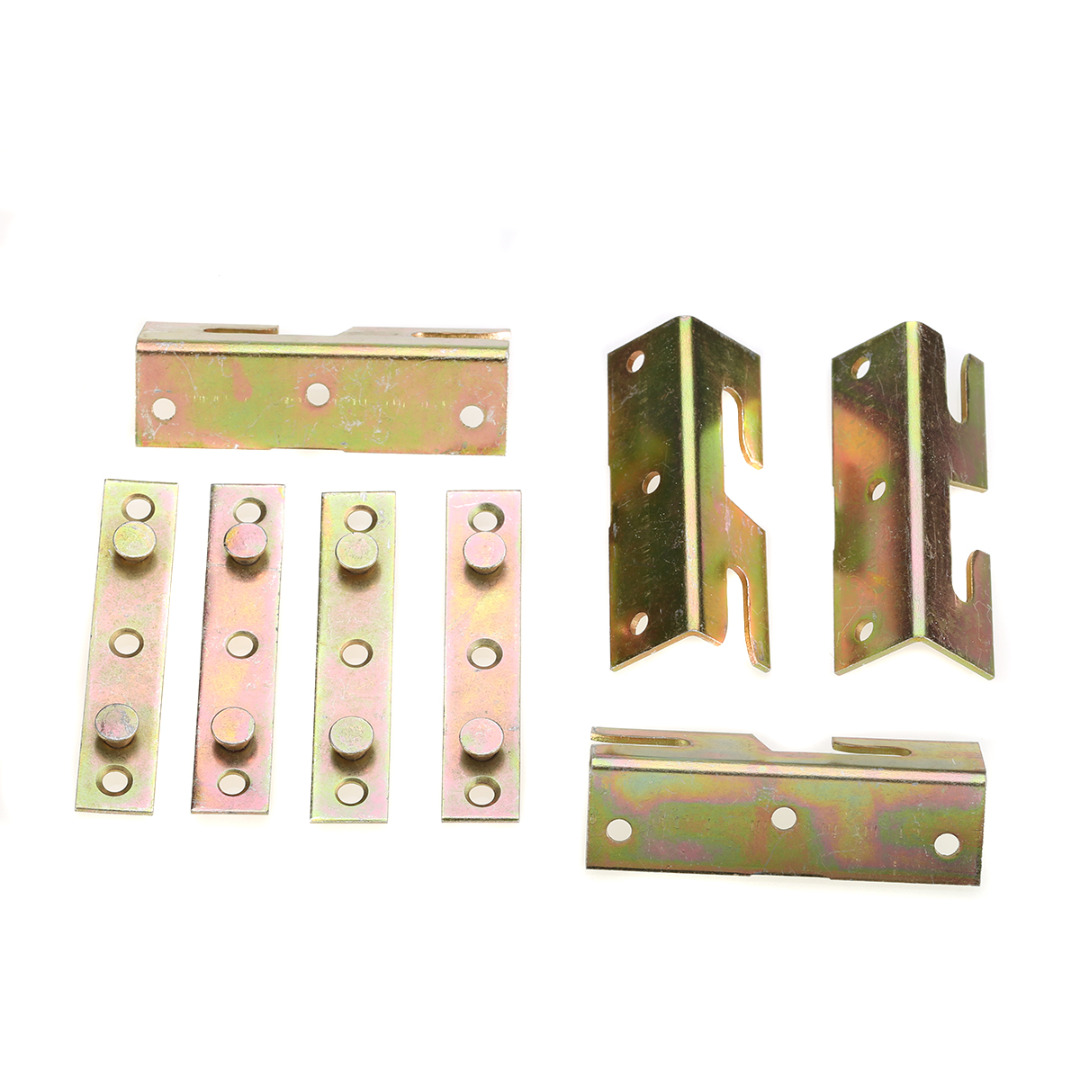 4Set/lot Brass Wood Bed Rail Bracket Fitting Snap Connectors Furniture Hardware Accessory