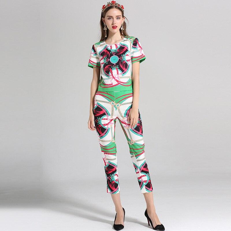 Rouge Rétro Manches Qualité Costumes vert Vintage Mode Femmes longueur Courtes De Ensembles Pantalon O Veau neck À Pull Haute D'été D'impression Slim 2018 APwq1fxHH