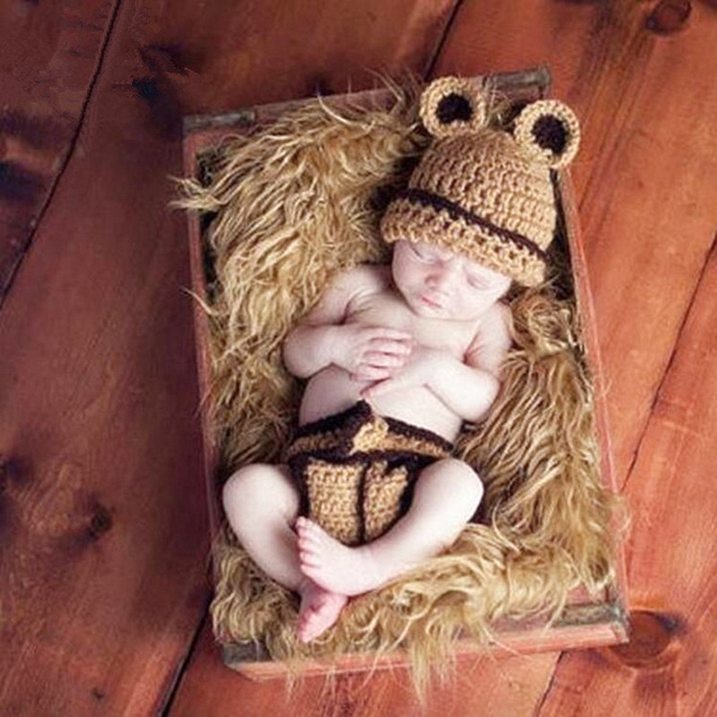 Newborn Photography Props Knitted Baby Clothes Cute Baby Photography Costume Baby Hat+Pants Set Baby Photo Props Accessories