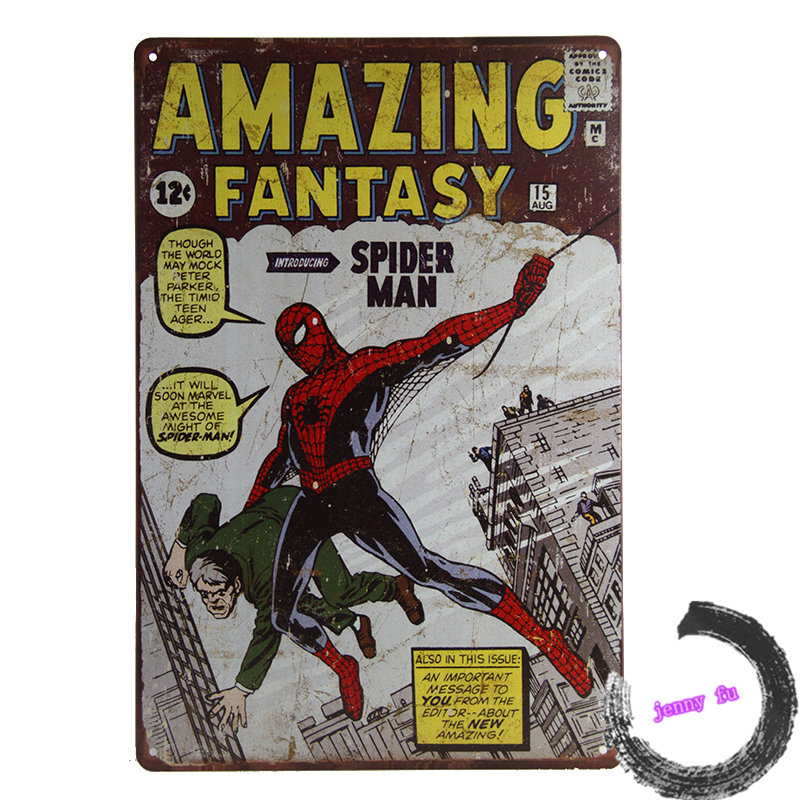 Popular Gift Amazing Fantasy <font><b>Spiderman</b></font> <font><b>Tin</b></font> <font><b>Sign</b></font> Bar pub home Wall Decor <font><b>Retro</b></font> <font><b>Metal</b></font> Poster C10