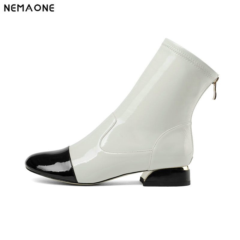 NemaoNe New 3cm low heels women boots genuine leather ankle boots spring autumn ladies dress shoes large size 43NemaoNe New 3cm low heels women boots genuine leather ankle boots spring autumn ladies dress shoes large size 43