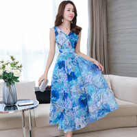 2018 New Summer Women Long dress Sleeveless Print Slim Chiffon V Neck Vest Dresses Pink Purple Color Light Blue 1625