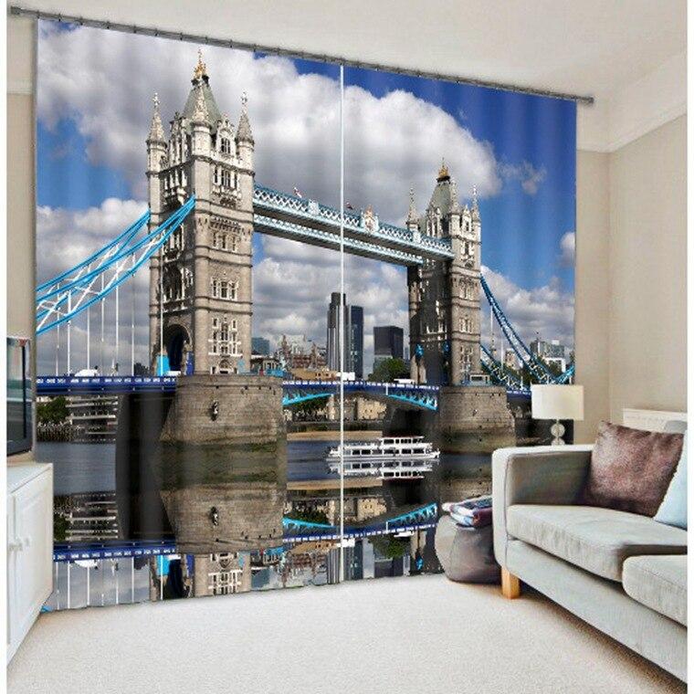 London Bridge Luxusní 3D zatemňovací závěsy pro závěsy do kuchyně Obývací pokoj Ložnice Okenní závěsy Hotel / kancelář Tapiserie na zeď