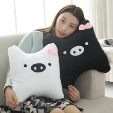 2 Pcs Soft Black & White Couple Pigs Plush Toy Cushion Stuffed Cute Animal Pillows Only Gift For Couples Memorial Day