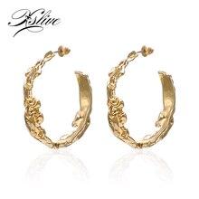 Big Dangle Earrings Women 2019 New Fashion Jewelry Geometric Round Ear Pendant Gold C-Shaped Irregular Drop Earrings Female Lady geometric artificial diamond round shaped drop earrings