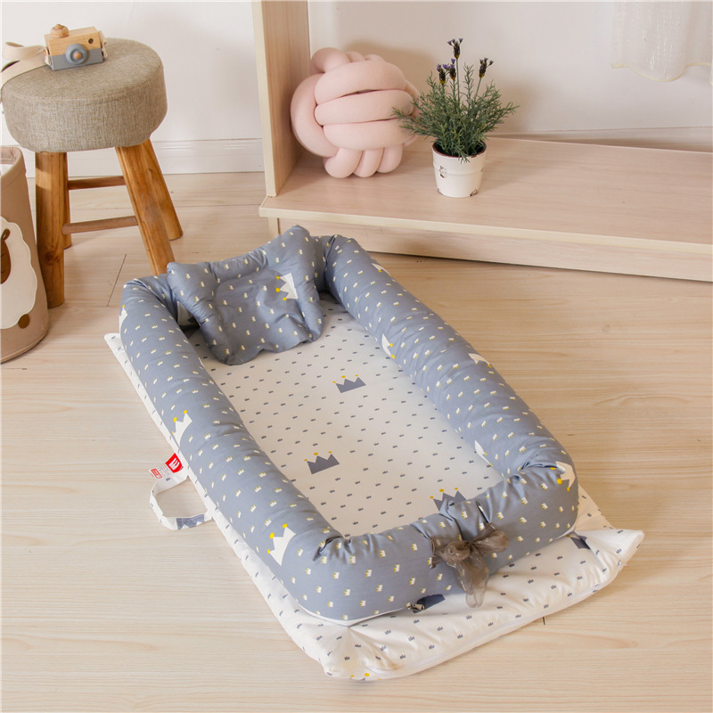 Potable Baby Bed Cartoon Print Cotton Crib For Baby Infant Travel Foldable Baby Cot Beds