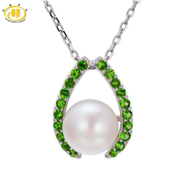 Hutang Perlas de Agua Dulce 10mm y Cromo Diópsido Colgante Esterlina del Sólido 925 de Plata Collar de la mujer