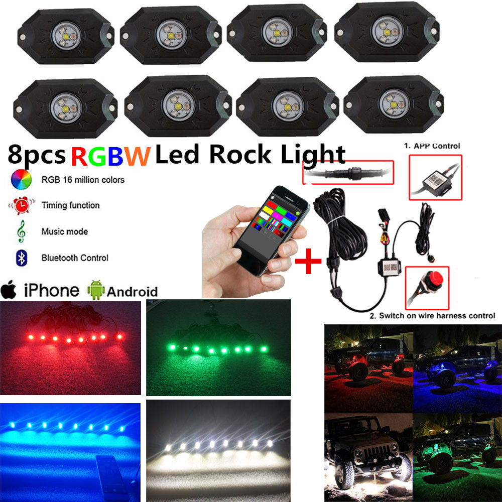 Honzdda 8 Pods RGBW Led Rock Lights Bluetooth & Switch Control 16 million Colors RGB Under Car Light for Off Road SUV 4x4 Boat зимняя шина nokian hakkapeliitta 8 suv 265 50 r20 111t