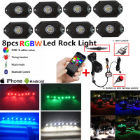 Honzdda 8 Pods RGBW Led Rock Lights Bluetooth & Switch Control 16 million Colors RGB Under Car Light for Off Road SUV 4x4 Boat