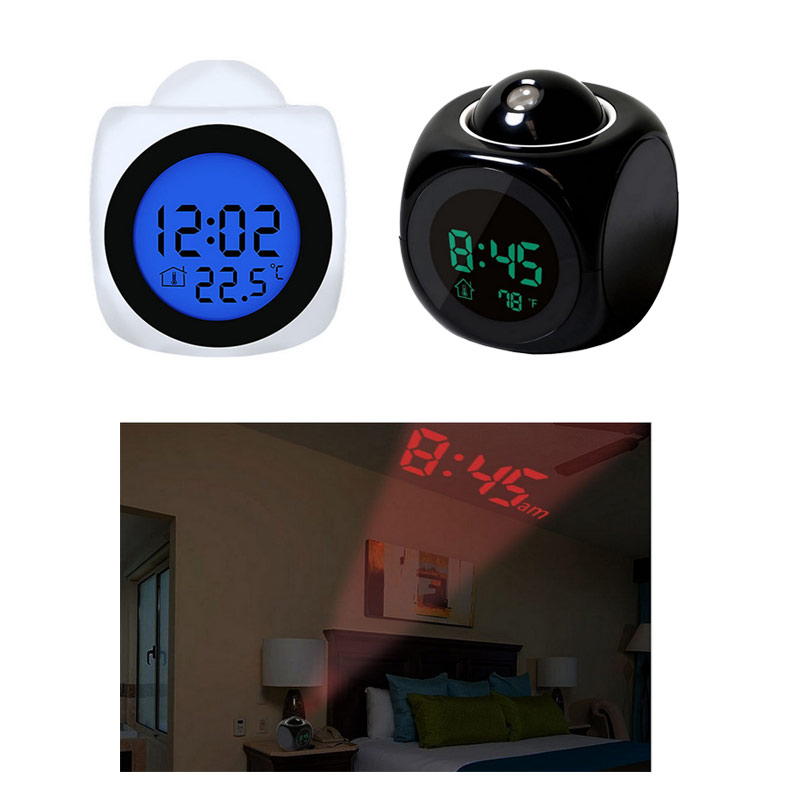 Vertvie 1Pc High Quality Multi-function Projection Clock Camping Digital LCD Voice LED Temperature Display Ceiling Outdoor Tools