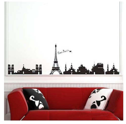 Buy paris eiffel tower wall decal art for Eiffel tower wall mural black and white