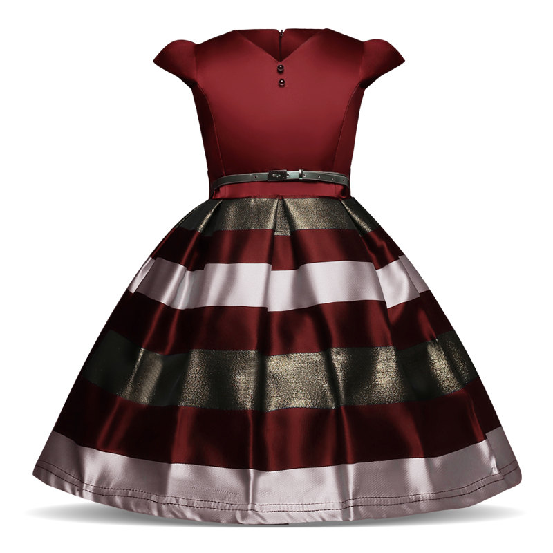 Baby Girls Striped Dress For Girls Formal Wedding Party Dresses Kids Princess Christmas Dress up costume Children Girls Clothing fashion baby girls dress kids christmas party red paillette tutu dresses xmas gift sleeveless princess costume girls dress 10