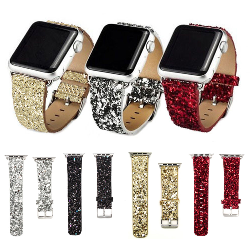 Bling Glitter Powder Leather Watch Band for Apple Watch 38/42mm Wristwatch Bracelet for iwatch Series 1/2 Christmas Shiny I26.