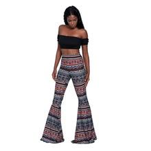National style street clothing milk silk fashion printing pattern waist micro-slip Slim womens trumpet trousers free shipping